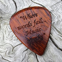 Handmade Premium Laser Engraved Wood Guitar Pick - Cocobolo Rosewood - Actual Pick Shown - No Stock Photos