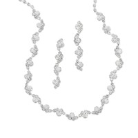 Beautiful Wave Design Crystal Fashion Necklace and Earring Set
