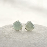 Beautiful Aqua Chalcedony Faceted Heart 7mm 925 Sterling Silver Stud Earring - #1628