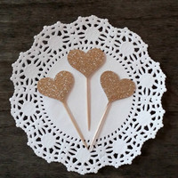 Champagne Gold Glitter Heart Cupcake Toppers, Cake Decor, Cupcake Decor, Wedding Decor, Baby Shower Decor, Party Decor, Set of 10