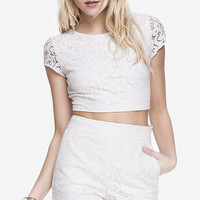 LACE CAP SLEEVE CROPPED TEE - WHITE from EXPRESS