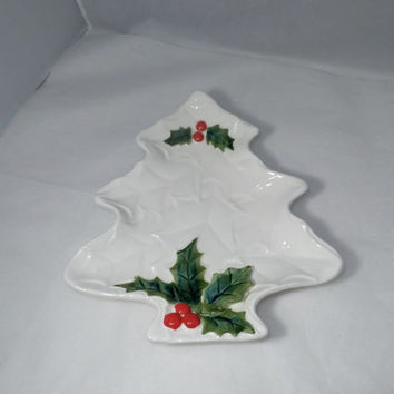 Christmas Tree Dish - Lefton White Ceramic Holiday Plate, Mid Century Marked, Christmas Home Decor, Holly Accent