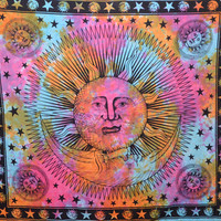 Sun And Moon Tapestry,Indian Cotton Tapestry,Good morning Sun Sheets Wall Hanging,Hippie Tapestries Wall Decor,dorm room Beach Blanket