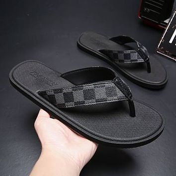WEH Men's Flip Flops 2020 Summer Male Flat Slippers Fashion lattice Beach Flip Flops Outdoor soft bottom non-slip Slippers 38-50