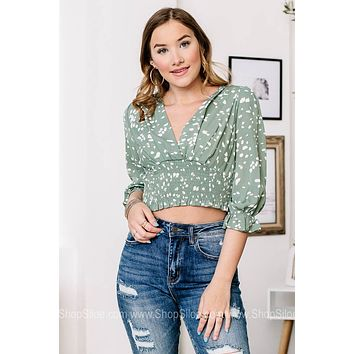 Like A Wildflower Spotted Cropped Top