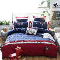 4/7-Pcs  Egyptian cotton Bedding Set Queen King Size Christmas Bed Set Embroidery Duvet Cover Bed Sheet Bed Linen