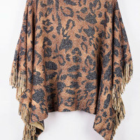 Brown Animal Print Fringed Pullover