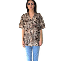 80s silk leopard print shirt 1980s vintage oversized unisex animal print short sleeve button up shirt XL