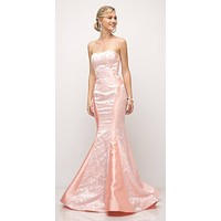 Stylish Mermaid Long Prom Dress Strapless Peach