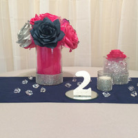 Navy blue, hot pink and silver wedding table centerpieces, Reception decor, Bridal shower decor, baby shower decor, silver wedding decor