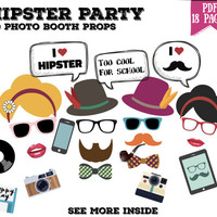 Hipster party Photo booth props set - 60 piece printable, photobooth, hipster bohemian party - PDF, INSTANT DOWNLOAD