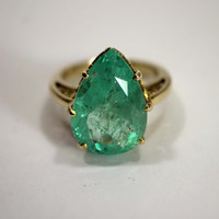 7.26cts massive Colombian Emerald & Gold Solitaire Ring 14k