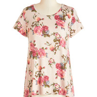 ModCloth Mid-length Short Sleeves Piece of the Prairie Top in Rose