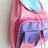90's pastel pink lilac teal block colored backpack