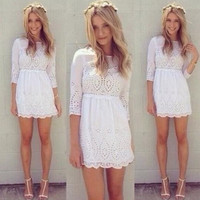 White hollow dress BB918J