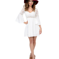 1970s Style Cream Lace Bell Sleeve Flare Dress