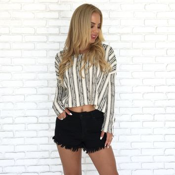 Madalyn Stripe Crop Sweater in Ivory