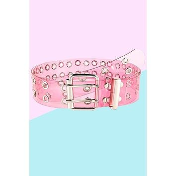 Clear Double Grommet Belt - Bubblegum