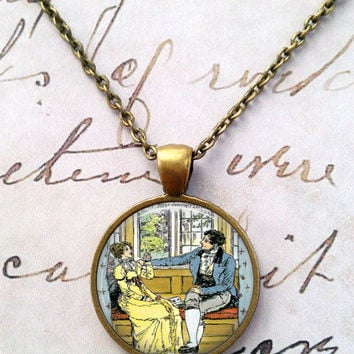 Jane Austen Necklace, Books, Library, Darcy, Willoughby, Ferrar, Literary, Victorian, Steampunk, Quotes T1129