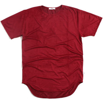 Perforated Suede T-Shirt Burgundy
