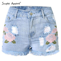 Simplee Apparel Casual beach high waist shorts Sexy hole fringe denim shorts women 2016 summer floral embroidery jeans shorts