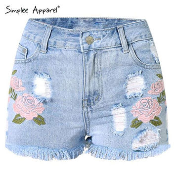 Simplee Apparel new summer floral embroidery women shorts High waist casual beach girl denim shorts Sexy hole fringe short jeans