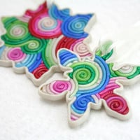 SALE Black Friday Cyber Monday Snowflake Christmas Ornament Set in Red, Pink, Green, Blue, Ivory Polymer Clay Filigree