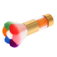 Makeup Foundation Tool Colorful Nail Dust Brushes Nail Gel Powder Nail Art Dust Remover Brush Cleaner Rhinestones
