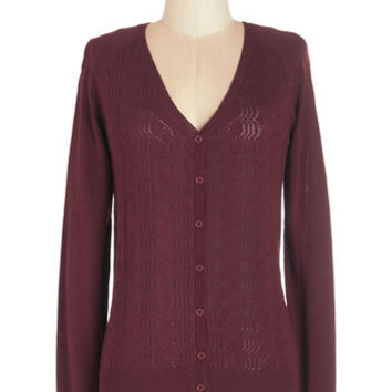 Myrtlewood Scholastic Mid-length Long Sleeve You Get the Pointelle Cardigan
