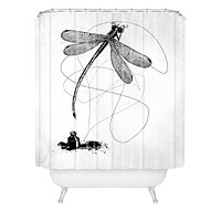 Matt Leyen Here There And Back Again White Shower Curtain