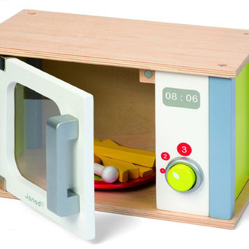 Janod 06540 Picnik Microwave Oven 9pc Play Food with Coloring Book
