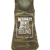 The Original Whiskey Bent & Hell Bound Jack Daniels summertime Military Camo tri blend graphic tee Women's Racerback Tank Top (5 prints)