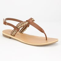 City Classified Friday Womens T-Strap Sandals Tan  In Sizes