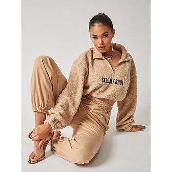 SHEIN Zip Up Letter Embroidery Drawstring Hem Teddy Pullover & Sweatpants Set