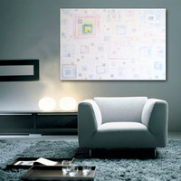 """SALE - Large Abstract Acrylic Painting Original Fine Art 40""""x30"""" by Linnea Heide - geometric white pastel contemporary"""