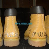 Custom Timberland Boots w Wedding Dates on Back