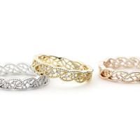 Delicate Branch Leaves band Ring detailed with CZ in 3 colors