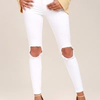 Free People High Rise Busted White Distressed Skinny Jeans
