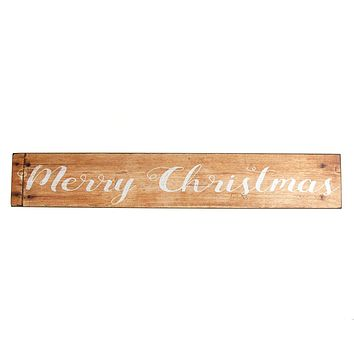 "Vintage Style Wood Rectangle ""Merry Christmas"" Sign, Natural, 23-1/2-Inch x 4-Inch"