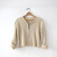 vintage cotton ribbed shirt. zip up sweater top. cropped & preppy. long sleeve ribbed shirt. minimalist top.