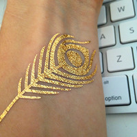 Peacock Feather Temporary Flash Tattoos