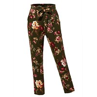 Floral Print High Waisted Loose Casual Long Peg Trouser Pants (CLEARANCE)