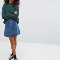 Noisy May Button Down Denim Skirt at asos.com