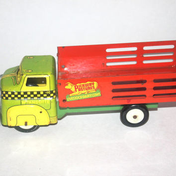 Vintage Wyandotte Pickway Pastures Stakebed Truck, 1940 Tin Litho Toy Truck, Antique Alchemy