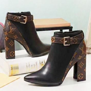 LV Louis Vuitton New fashion monogram print high quality shoes boosts high heels women