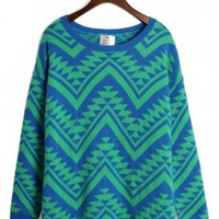 Aztec Triangle Pattern Jumper in Green/Blue - Retro, Indie and Unique Fashion