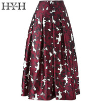 HYH HAOYIHUI Print Basic Skirt Women High Waist Bodycon Skater Skirt Ladies Fashion Casual OL Autumn Midi Skirt Female
