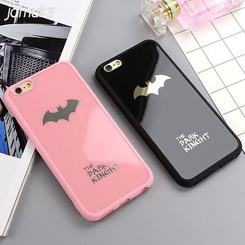JAMULAR Dark Kinght Batman Phone Cover For iphone X 6 6s 7 Plus Mirror Silicone Case For iphone 7 6 6s 8 Plus Phone Cases Shell