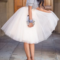 White Layered Ball Gown Midi Skirt
