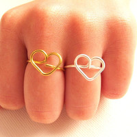 2 Friendship Heart Ring -  BFF Ring - Gift for friend - Friendship gift idea - Friendship Ring by Tiny Box- Set of 2 by Tiny Box